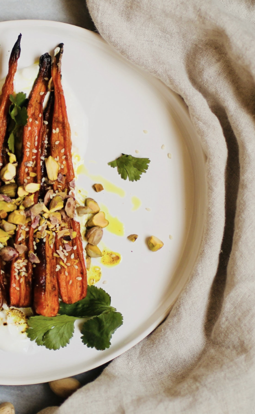 Recipe: Curry Spiced Carrots with Yogurt and Pistachios