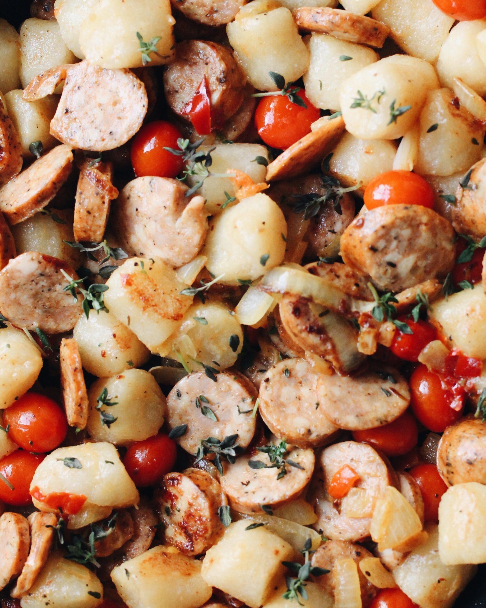 Cauliflower Gnocchi with Chicken Sausage and Fresh Thyme